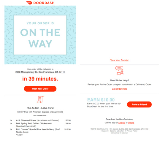 doordash confirmation